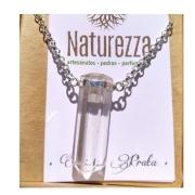 Colar de Cristal  Quartzo Incolor com prateado  (Perfumeira para Aromaterapia ou Difusor Pessoal)