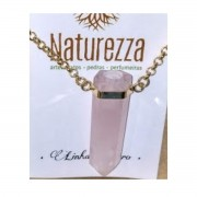 Colar Quartzo Rosa  Banhado em Ouro  (Joia e Perfumeira para Aromaterapia ou  Difusor Pessoal)