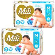 Fralda Descartável Mili  Love & Care  Linha Premiun  Tamanho M  2 Pacotes c/ 26 (Total: 52 fraldas)