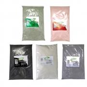 Kit Argila Verde, Vermelha, Branca, Preta e Cinza - 100% Puro - Ervas e Raízes