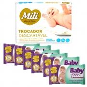 Kit Trocador Descartável Mili + Lenço Umedecido Baby Free (6 pacotes de 50 lenços)