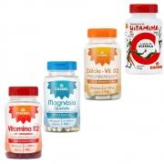 Kit Vitamina K2 + Cálcio com Vitamina  D + Magnésio Quelato + Vitamina C