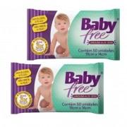 Lenço Umedecido Baby Free  (Toalha Umedecida)  2  Pacotes  com 50 unidades  (Total: 100 lenços)