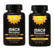Maca Peruana Premium 100% Pura     2 Frascos com 120 cápsulas     Chamel