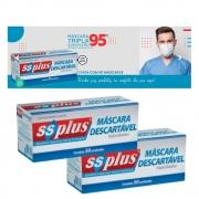 Máscara Descartável Tripla com elástico - 2 caixas  com 50 unidades - profissional