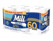 papel Higienico Mili Dual 60m- Folha dupla-  Neutro -12 rolos
