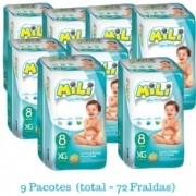 Promoção Fralda Mili ULTRA SECA- Tamanho XG- Diurno -9 Pacotes com 8 Fraldas