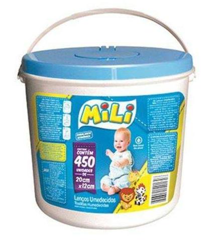 1 Balde - Lenços Umedecido P/ Bebe Mili - Com 450 Unidades