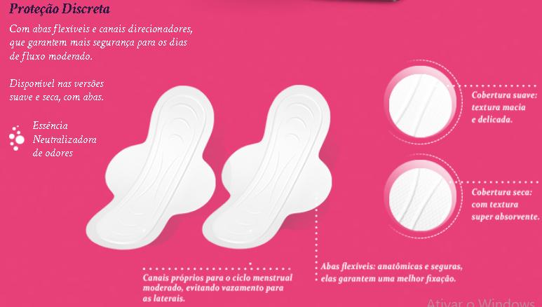 Absorvente íntimo Feminino Mili- Proteção DiscretaSuave com abas