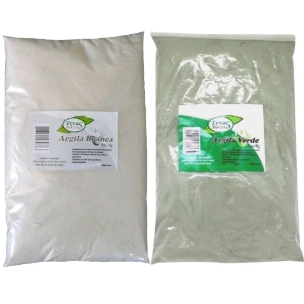 Argila Branca  +  Argila Verde  100% Pura   1 Kg de cada   Ervas e Raízes