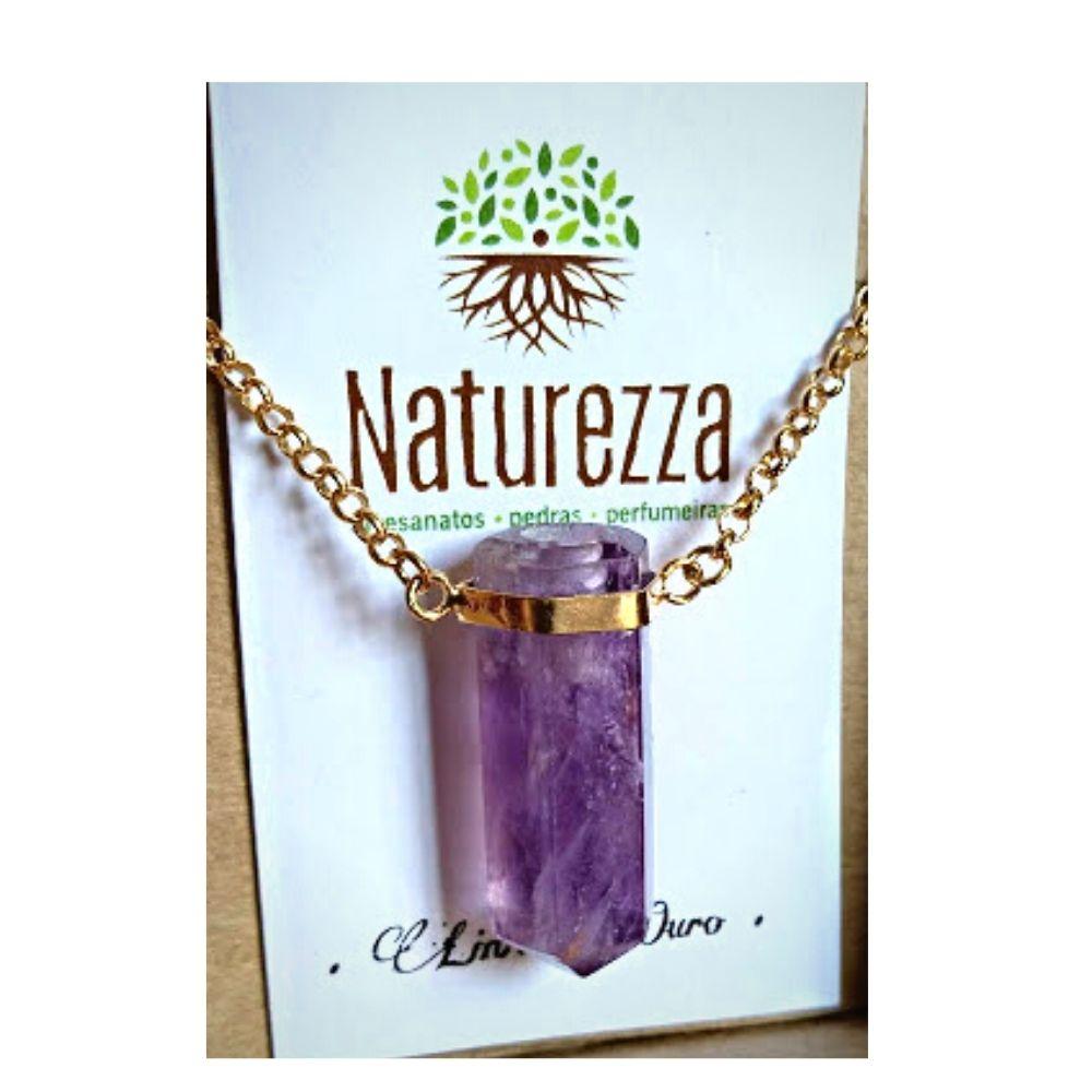Aromatizador Pessoal Colar  de Ametista c/ corrente dourada - difusor p/ óleo essencial - Naturezza