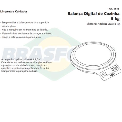Balanca de USO Domestico 5KG Cinza Brasfort