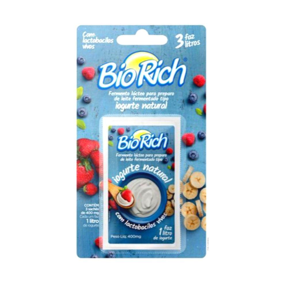 Bio Rich® Fermento Lácteo 1 Cartela com 3 Sachês de 400mg cada - para fazer Iogurte Natural