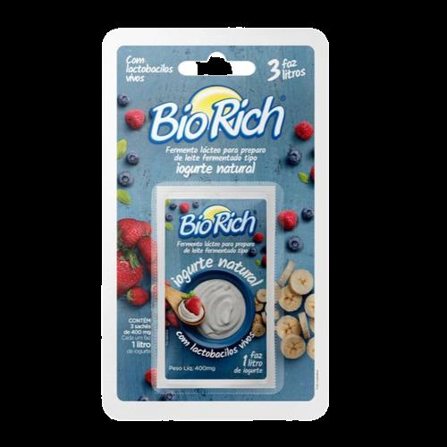 Bio Rich® Fermento Lácteo 2 Cartelas c/ 3 Sachês para fazer iogurte natural (total: 6 sachês)