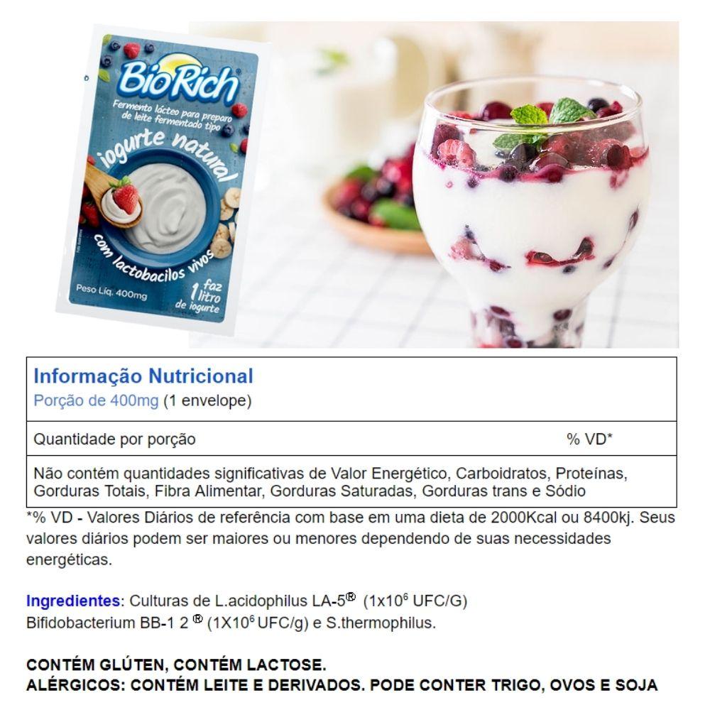 Bio Rich® Fermento Lácteo 4  Cartelas C/ 3 Sachês Para Fazer Iogurte Natural (total:12 Sachês)