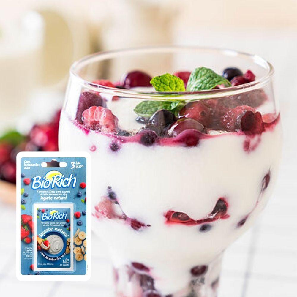Bio Rich® Fermento Lácteo 5  Cartelas C/ 3 Sachês Para Fazer Iogurte Natural (total:15 Sachês)