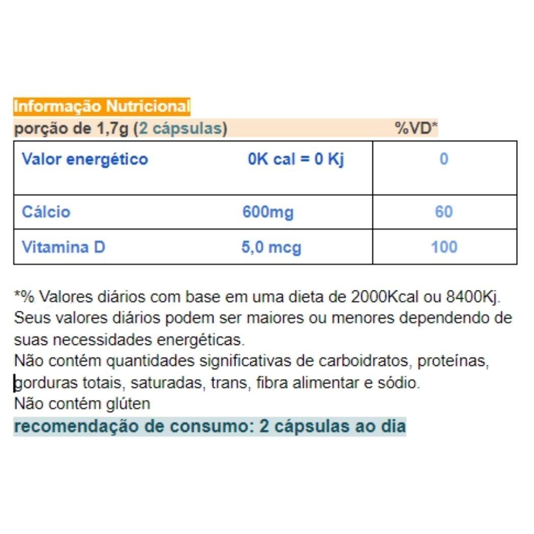 Cálcio com  Vitamina D em Cápsulas Chamel  60 cápsulas de 750 mg