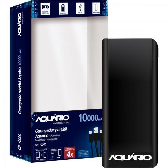 Carregador Portatil USB 10000MAH CP-10000 Preto Aquario