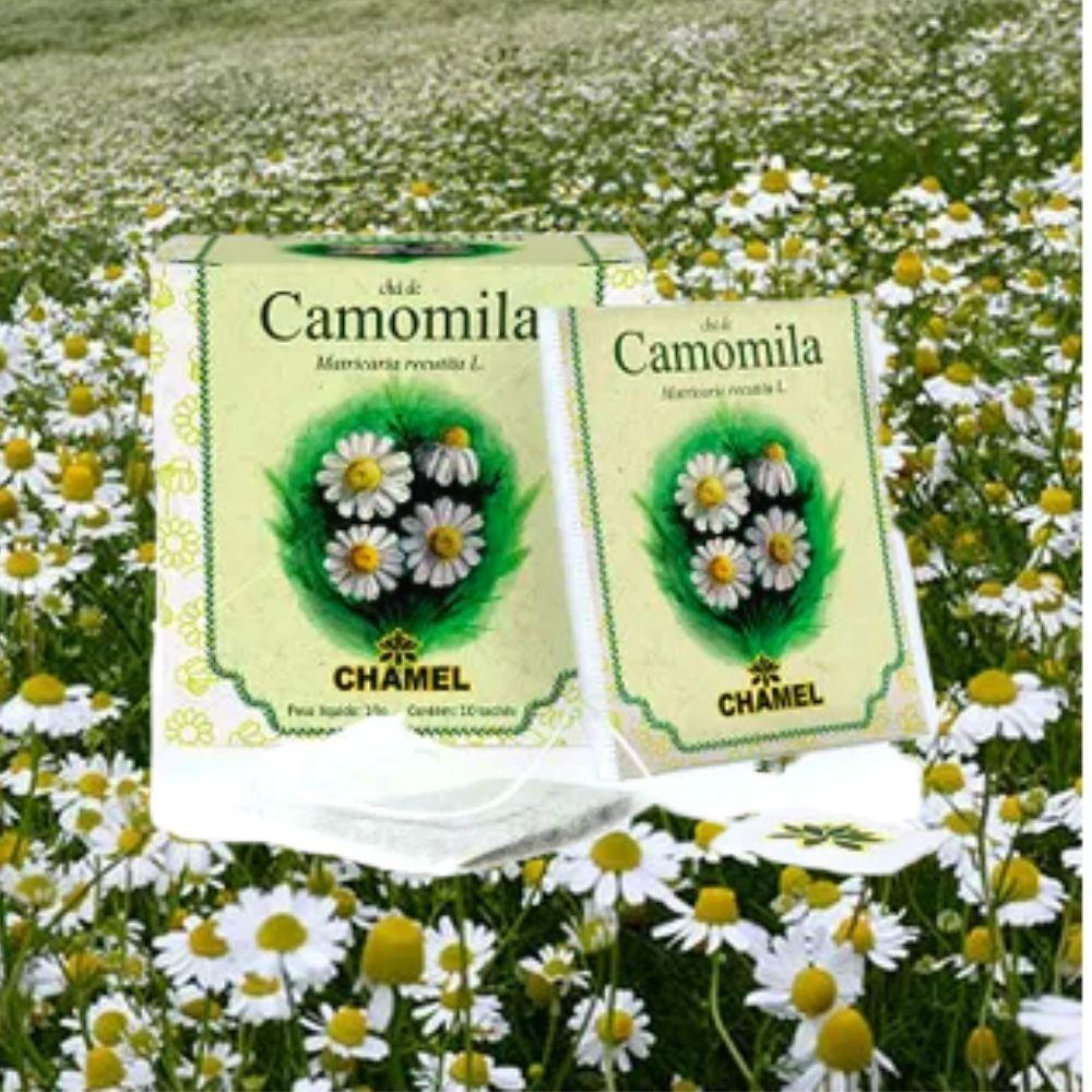 Chá de Camomila em sachês envelopados individualmente. Embalagem exclusiva com 10 sachês  Chamel
