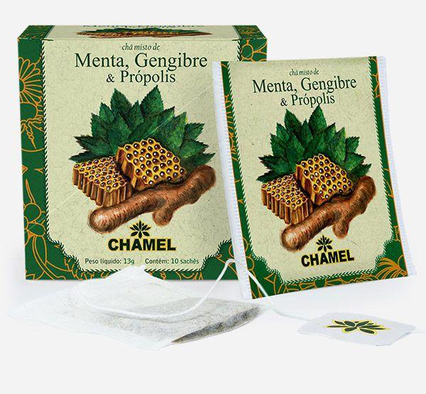 Chá misto de Hortelã  Gengibre e Própolis em sachês     Chamel     Embalagem com 10 sachês