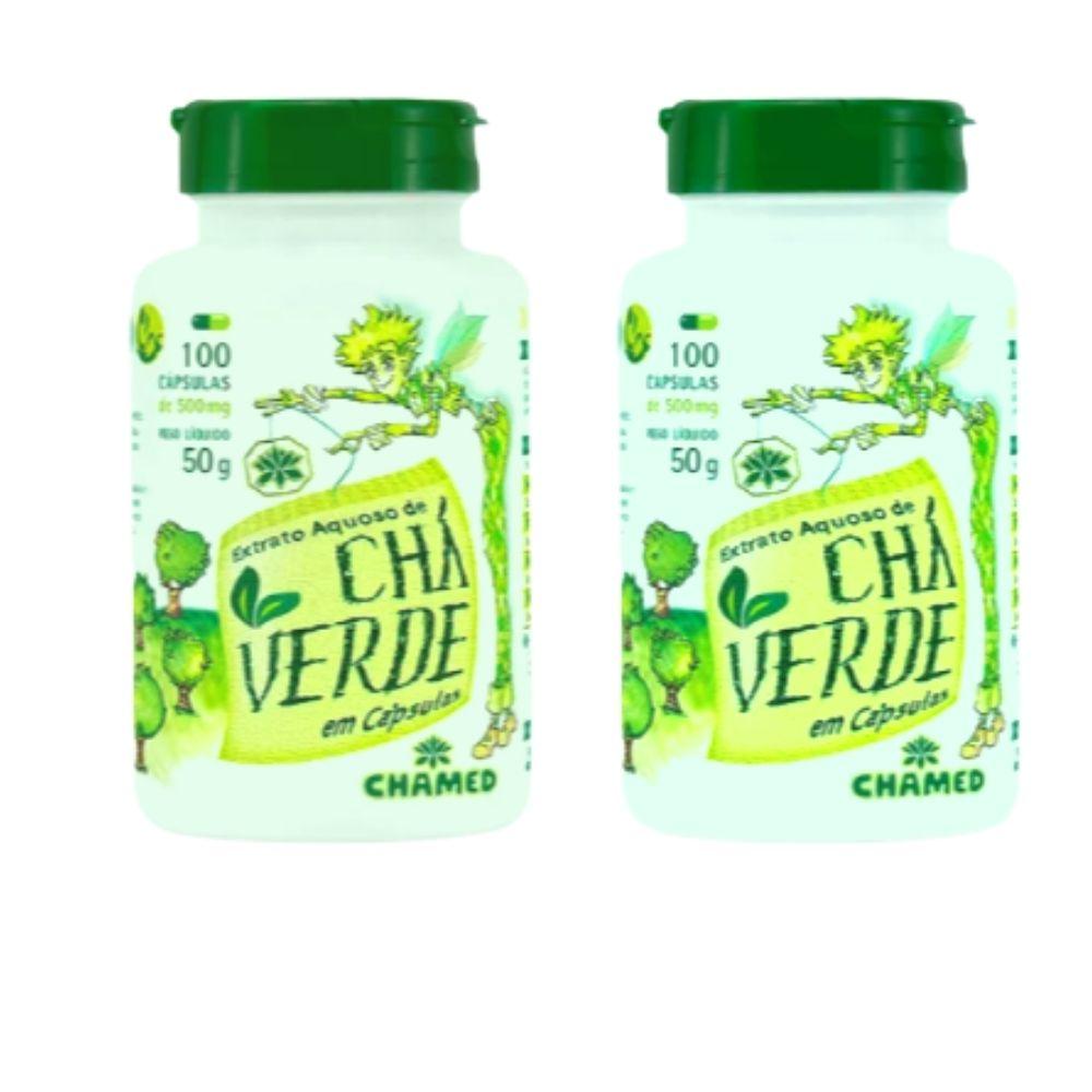 Chá Verde em Cápsulas  Camellia Sinensis 2 frascos c/ 100 cápsulas de 500mg  Chamed (Fabricante Chamel)