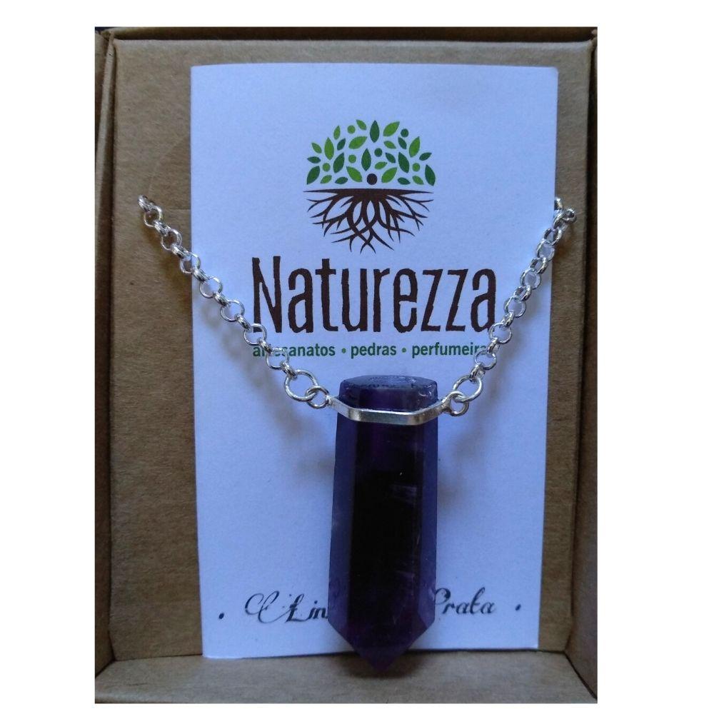 Colar Ametista e Prata (Joia e Perfumeira para Aromaterapia ou  Difusor Pessoal)