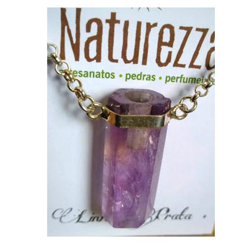 Colar Ametista e Prata (Perfumeira para Aromaterapia ou  Difusor Pessoal)