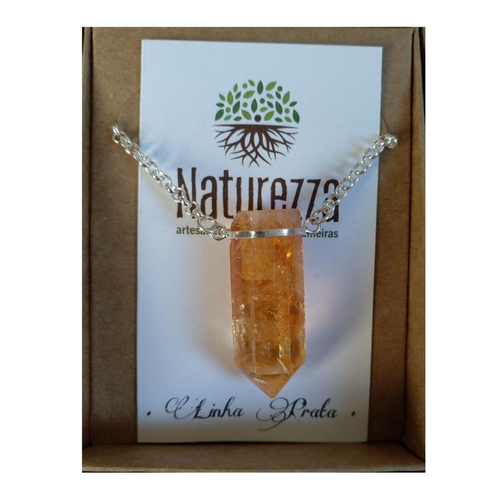 Colar Citrino Prata (Joia e Perfumeira para Aromaterapia ou  Difusor Pessoal)