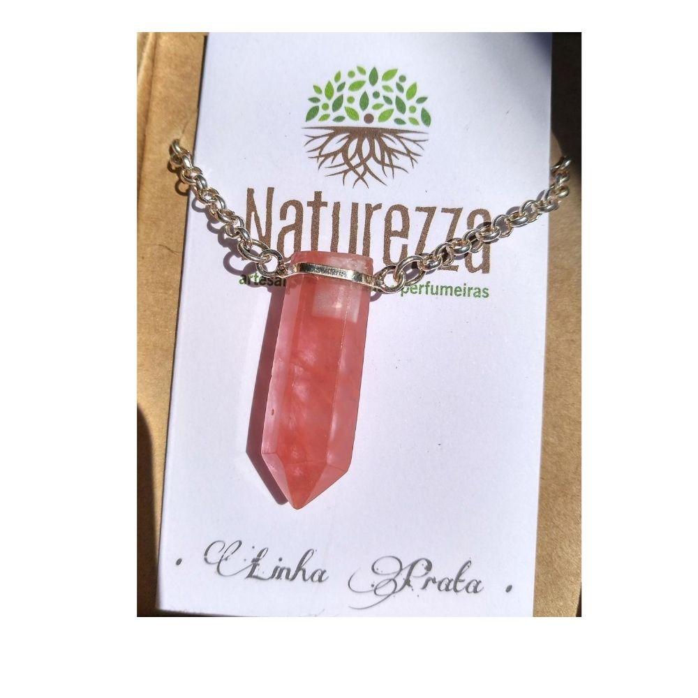 Colar Cristal Cherry  e Prata (Perfumeira para Aromaterapia ou  Difusor Pessoal)