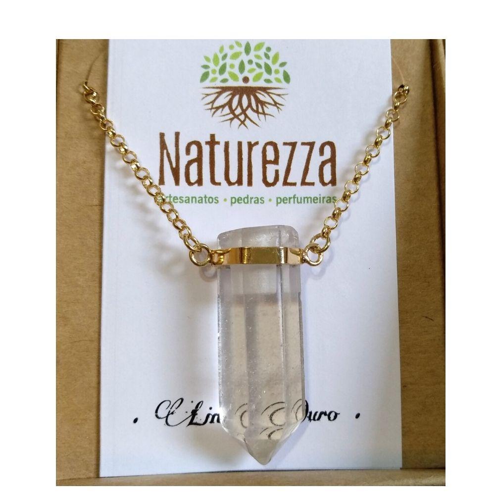 Colar Cristal - Quartzo Transparente c/ corrente dourada (Perfumeira para Aromaterapia ou Difusor Pessoal)