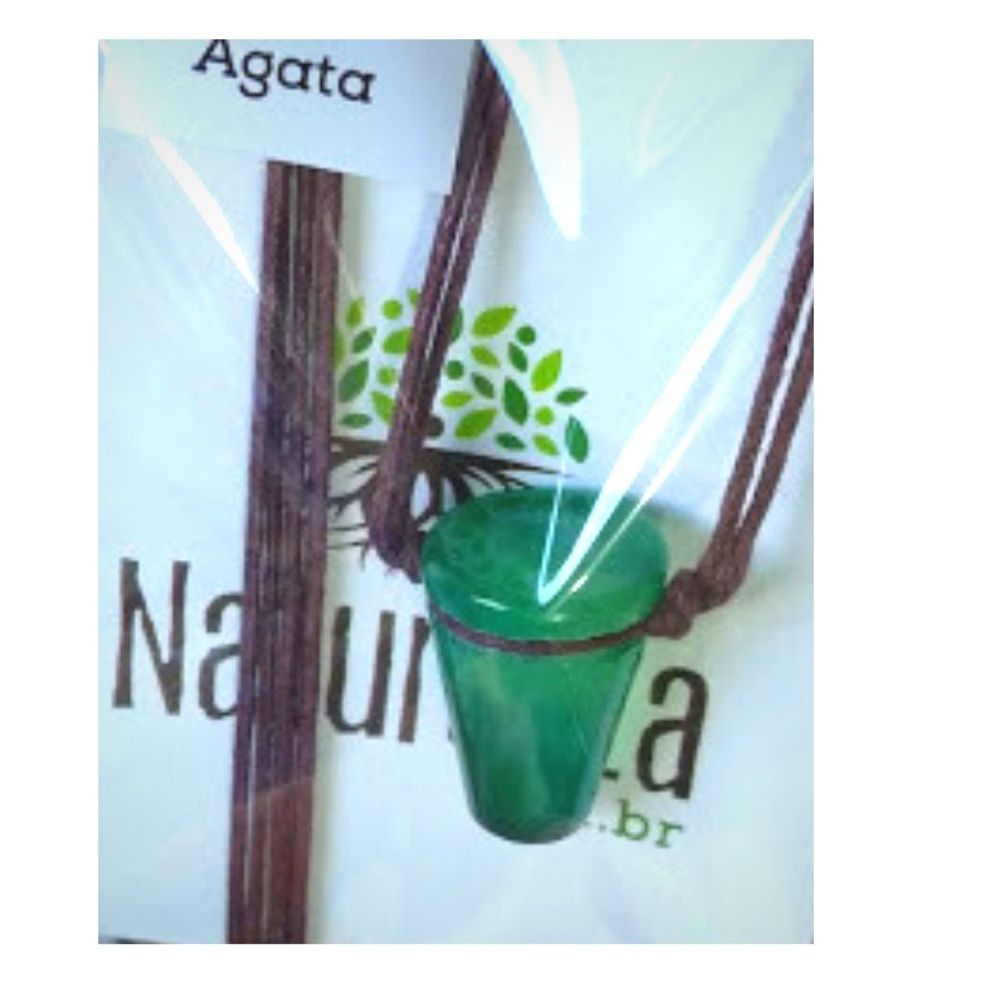 Colar de Ágata em formato de copinho Verde  (Perfumeira p/ Aromaterapia ou  Difusor Pessoal)
