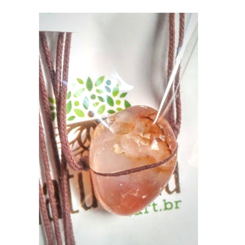 Colar de Ágata Vermelha  pedra rolada (Perfumeira p/ Aromaterapia ou  Difusor Pessoal)