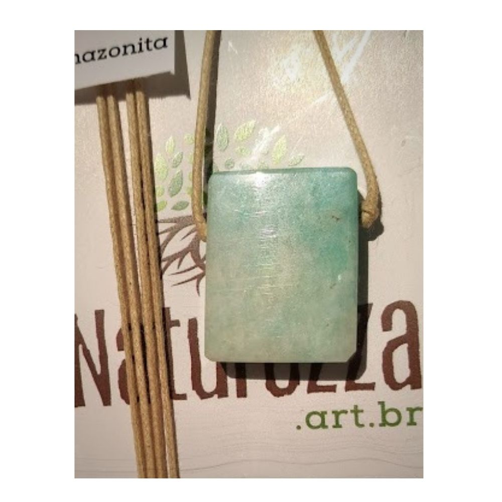 Colar de Amazonita - minimalista- c/ cordão de algodão (Perfumeira p/ Aromaterapia ou Difusor Pessoal)