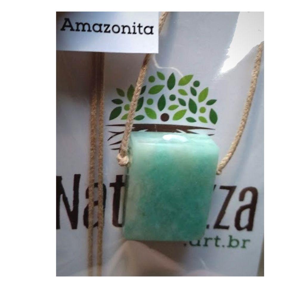 Difusor Pessoal)  Colar de Amazonita - minimalista- c/ cordão de algodão (Perfumeira p/ Aromaterapia )