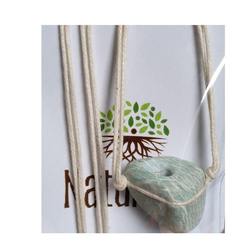 Colar de Amazonita Pedra Rolada (Perfumeira p/ Aromaterapia ou  Difusor Pessoal)