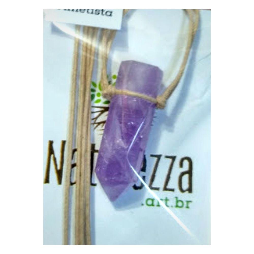 Colar de Ametista  c/ cordão de algodão (Perfumeira p/ Aromaterapia ou Difusor Pessoal)