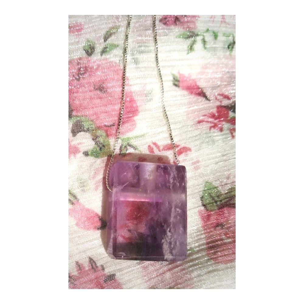 Colar de Ametista c/ corrente de prata (Perfumeira para Aromaterapia ou  Difusor Pessoal) Naturezza - Minimalista