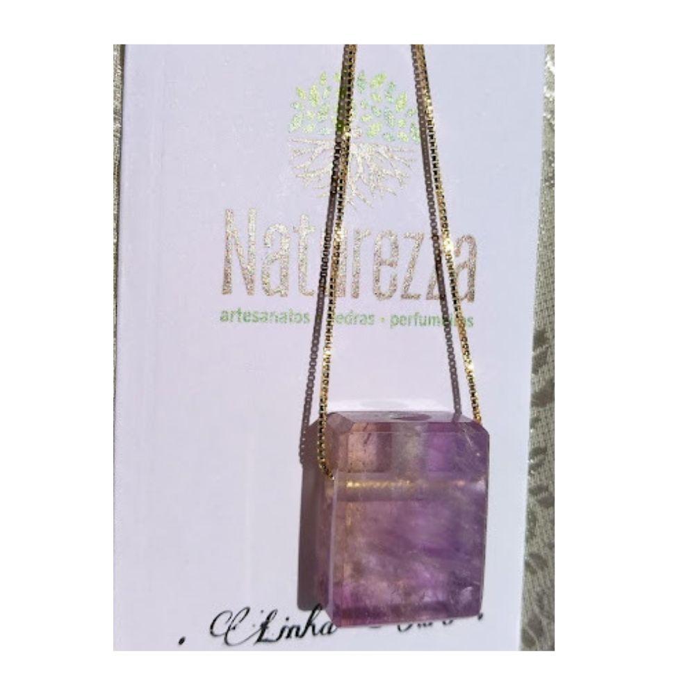 Colar de Ametista c/ corrente dourada (Perfumeira para Aromaterapia ou  Difusor Pessoal) Naturezza - Minimalista