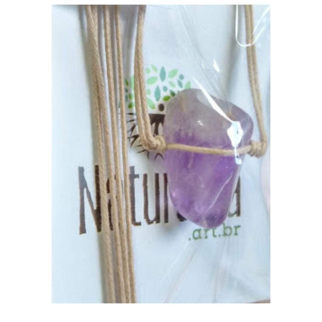 Colar de Ametista  pedra rolada c/ cordão de algodão (Perfumeira p/ Aromaterapia ou Difusor Pessoal)