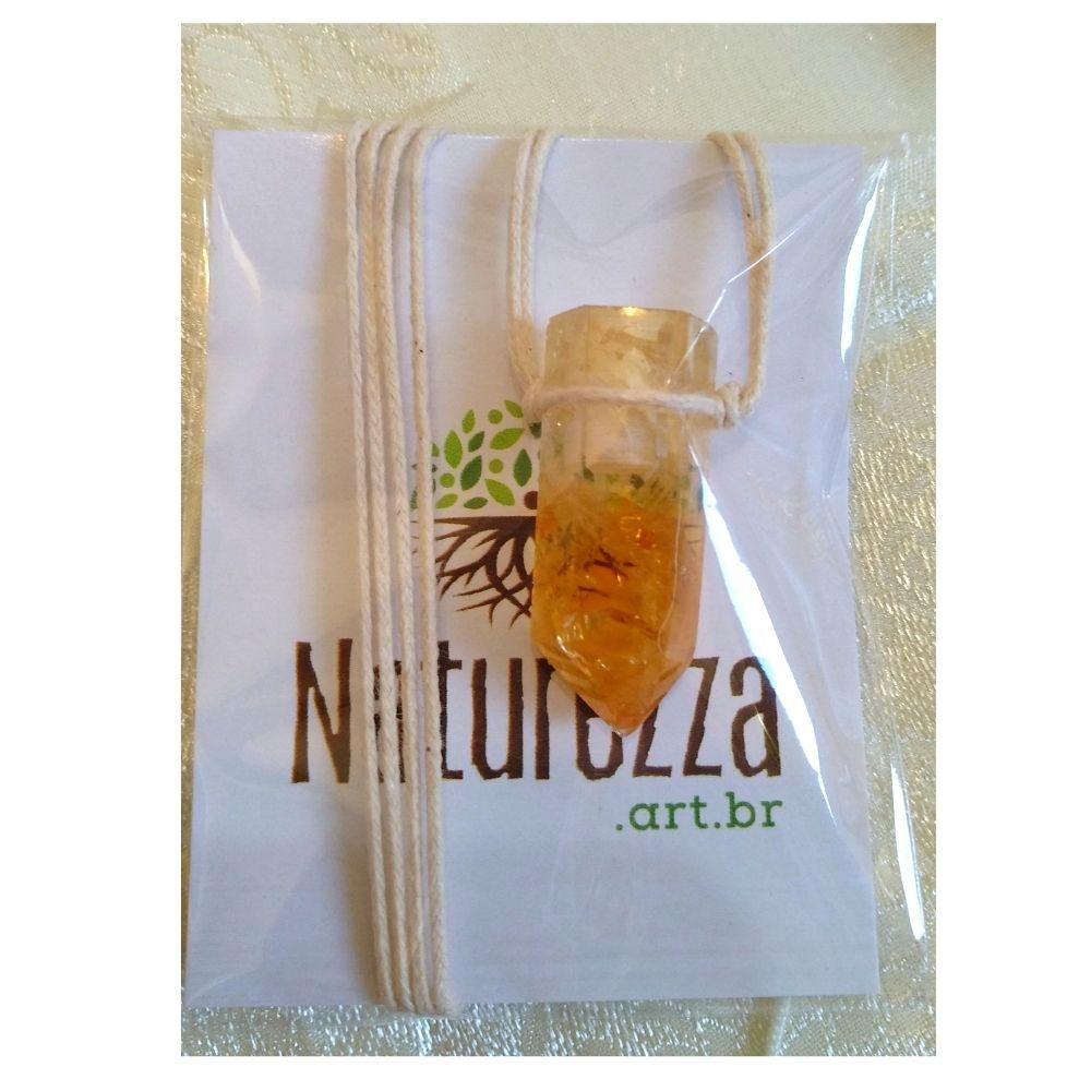 Colar de Citrino com Ponta  c/ cordão de algodão (Perfumeira p/ Aromaterapia ou Difusor Pessoal)