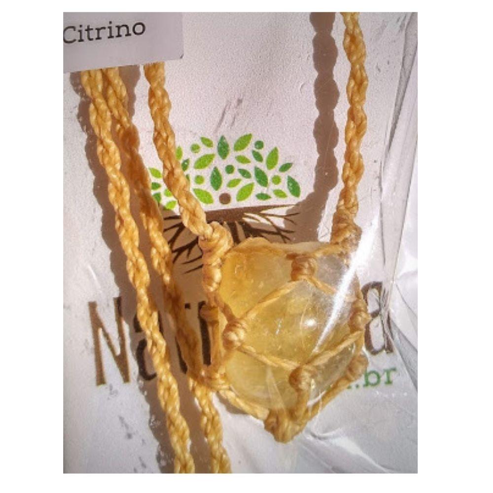 Colar de Citrino com redinha em macramê  (Perfumeira p/ Aromaterapia ou  Difusor Pessoal)