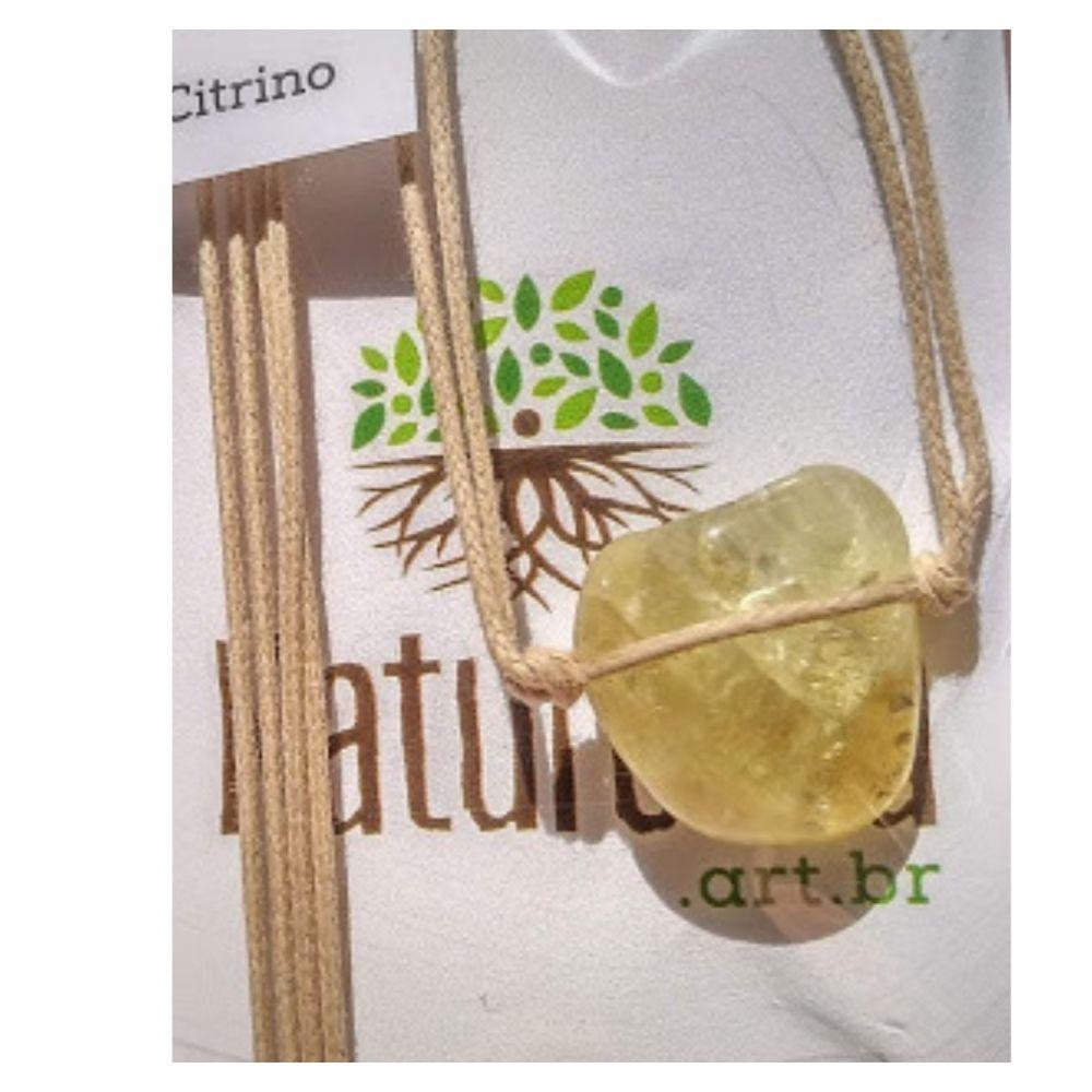 Colar de Citrino pedra rolada com cordão de algodão cru (Perfumeira p/ Aromaterapia ou  Difusor Pessoal)