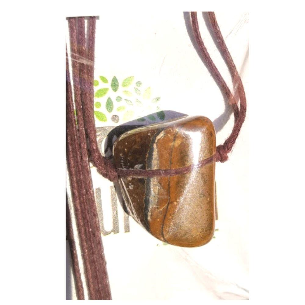 Colar de Cristal de Olhe de Tigre pedra rolada c/ cordão de algodão cru  (Perfumeira p/ Aromaterapia ou Difusor Pessoal)