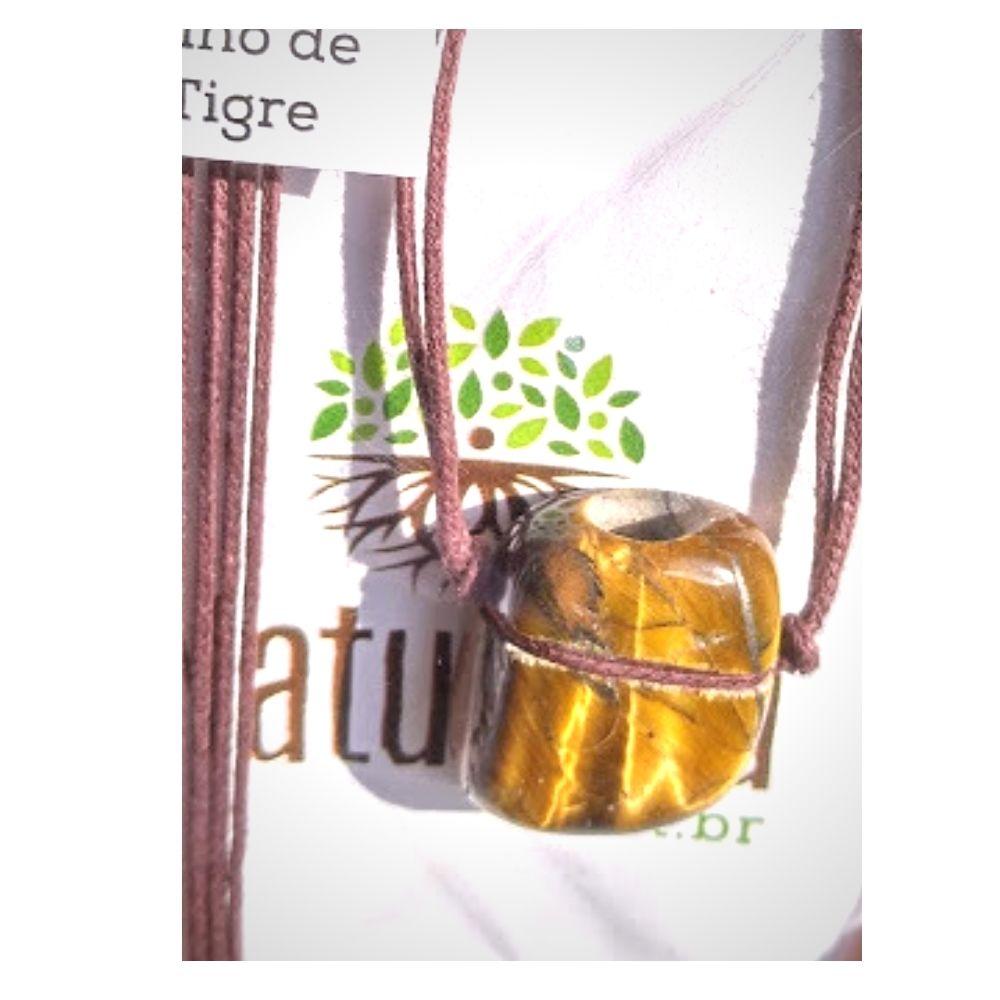 Colar de Cristal de Olho de Tigre pedra rolada c/ cordão de algodãocru  (Perfumeira p/ Aromaterapia ou Difusor Pessoal)
