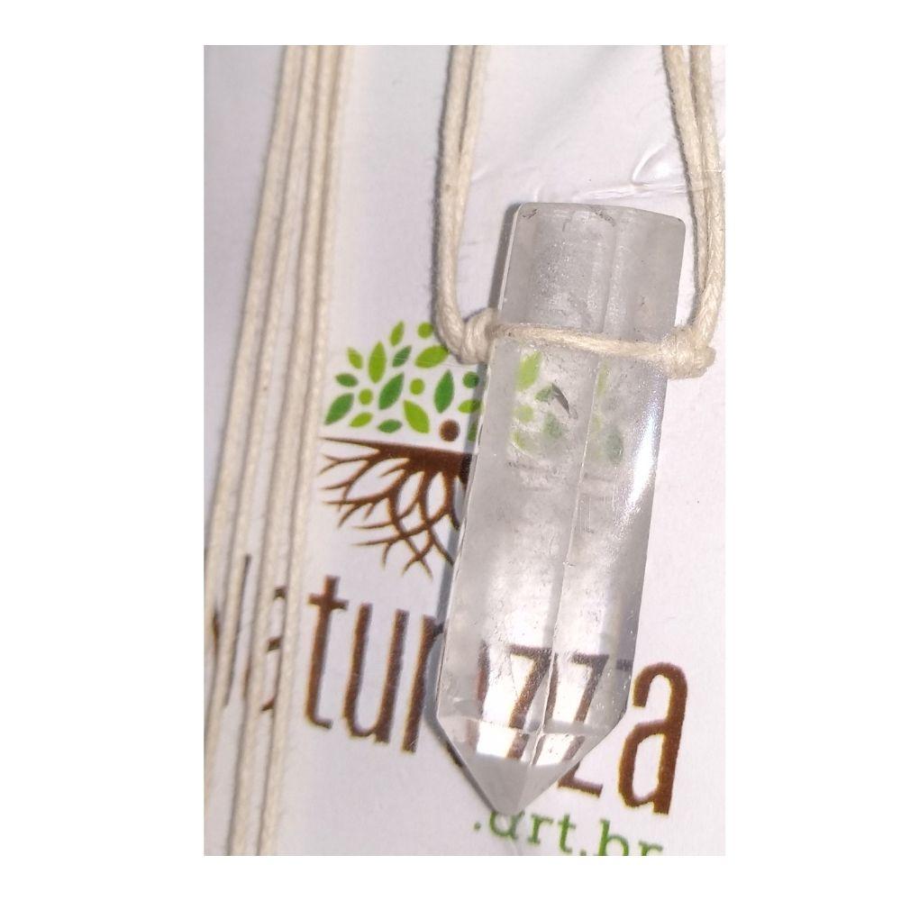 Colar de Cristal de Quartzo com Ponta  c/ cordão de algodão (Perfumeira p/ Aromaterapia ou Difusor Pessoal)