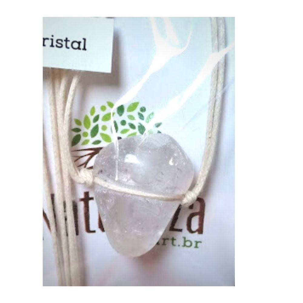 Colar de Cristal de Quartzo pedra rolada c/ cordão de algodão cru  (Perfumeira p/ Aromaterapia ou Difusor Pessoal)