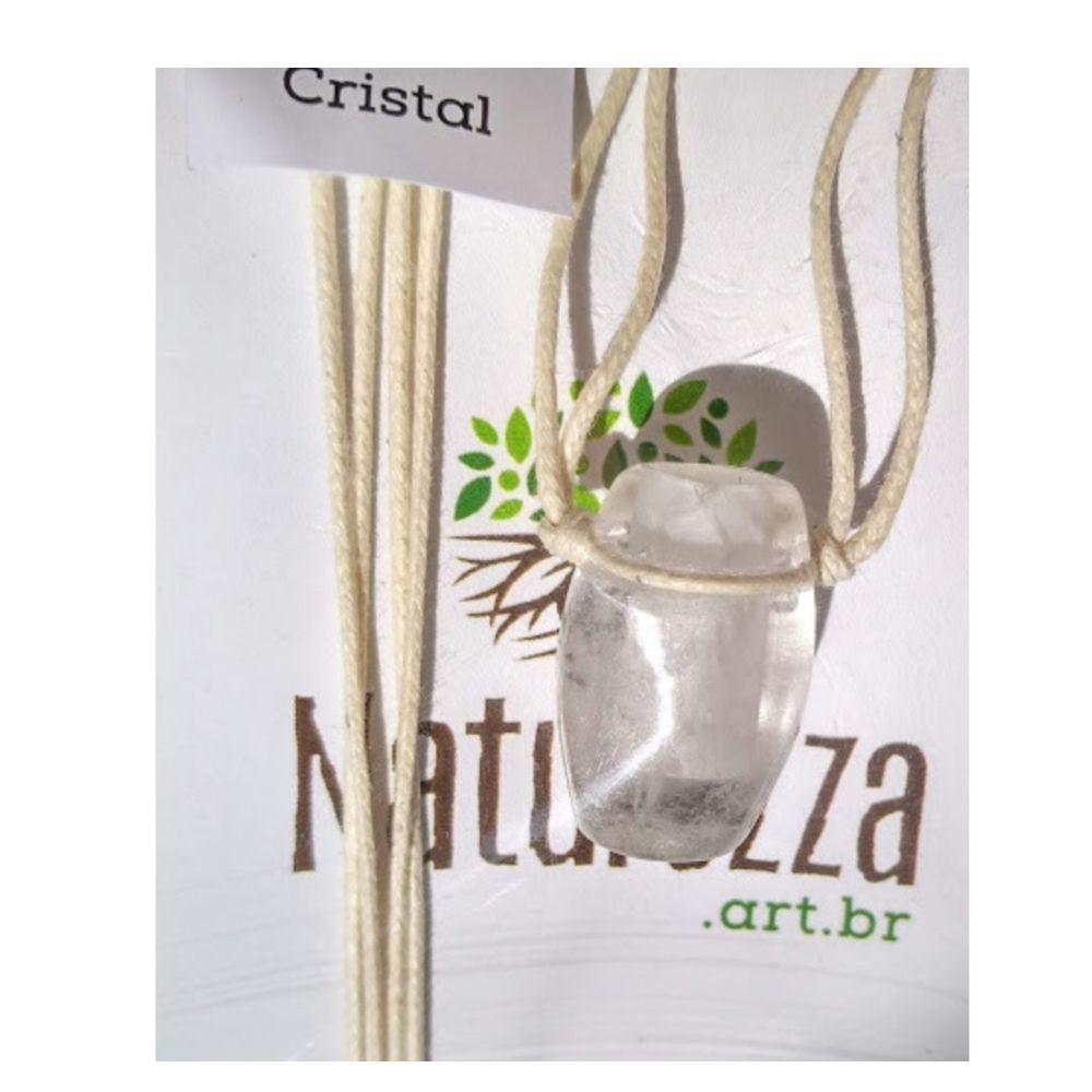 Colar de Cristal de Quartzo tamborzinho  c/ cordão de algodão (Perfumeira p/ Aromaterapia ou Difusor Pessoal)