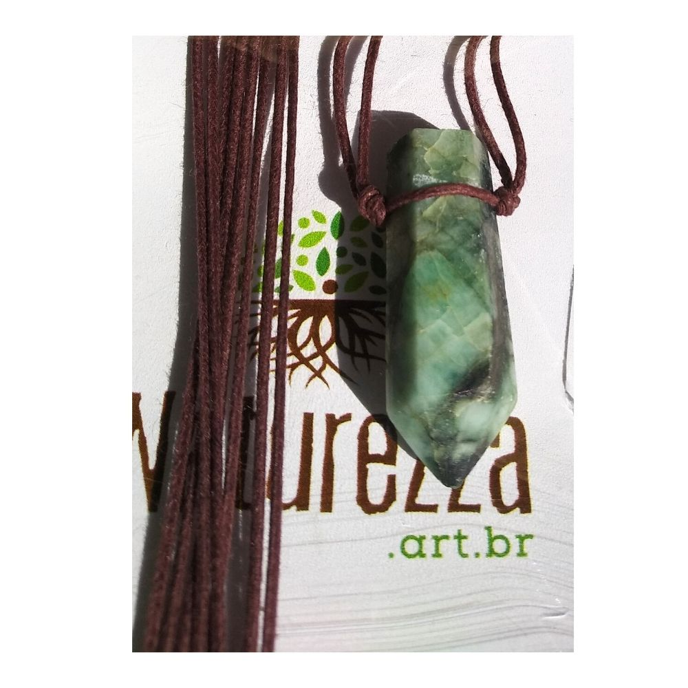 Colar de Esmeralda  c/ cordão de algodão ( Perfumeira p/ Aromaterapia ou  Difusor Pessoal)
