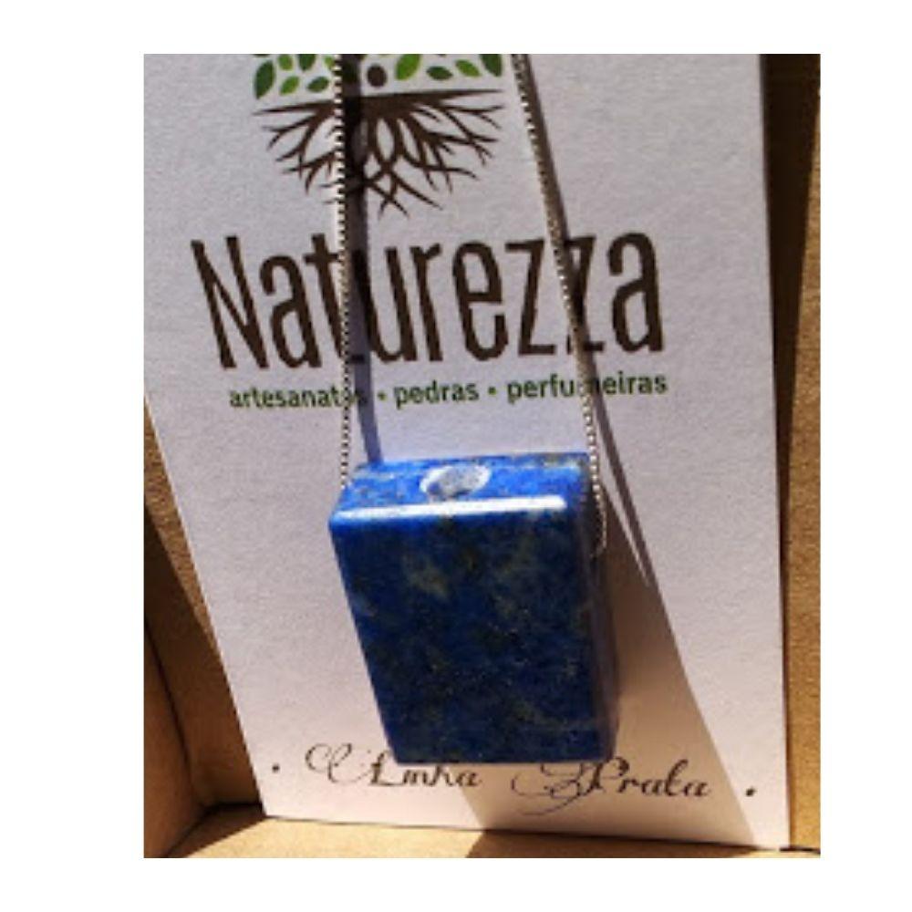 Colar de Lápis Lazúli  c/ corrente de prata (Perfumeira p/ Aromaterapia ou  Difusor Pessoal)