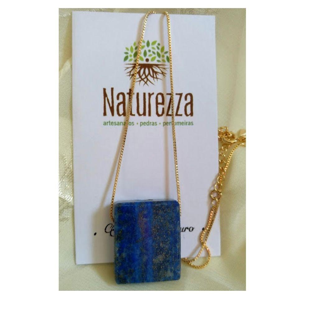 Colar de Lápis Lazúli  c/ corrente dourada (Perfumeira p/ Aromaterapia ou  Difusor Pessoal)